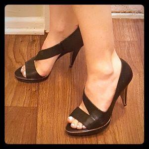 Banana Republic Black twisty strap heels.